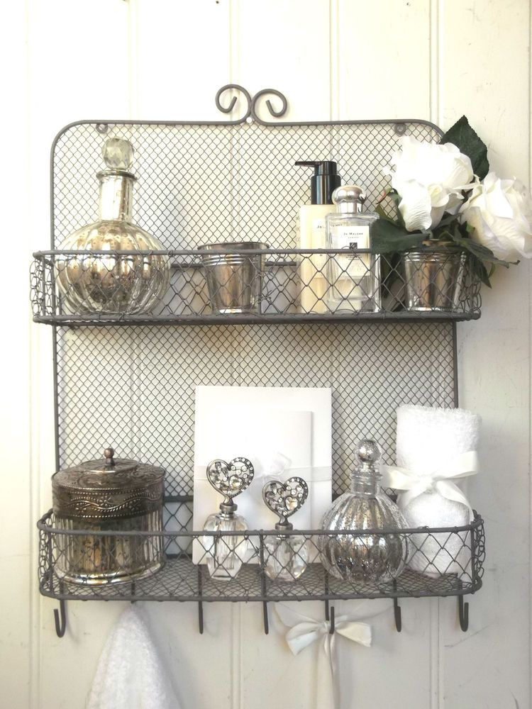 Shabby chic vintage metal wall shelf unit rack hooks for Metal bathroom shelving unit