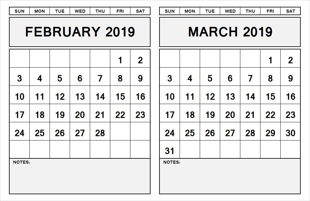 Two Month 2021 Calendar February March Printable In 2020 Calendar Printables Calendar Template Monthly Calendar Template
