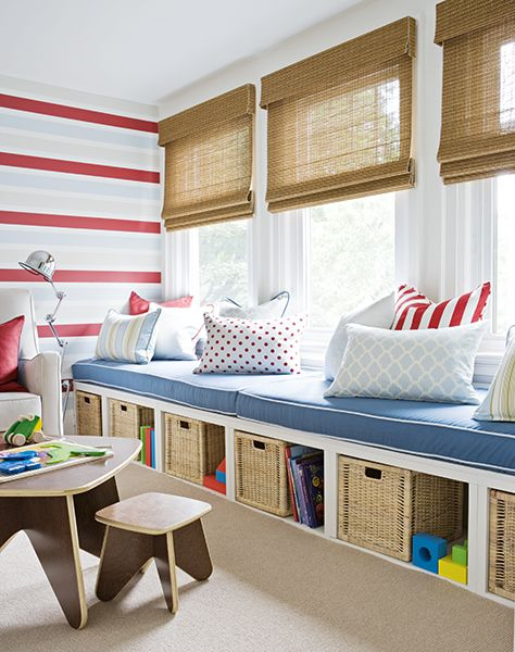 Beautiful window seats for bedroom/playroom. Looks like it could easily be duplicated using a few Ikea Expedit shelves.  http://www.ikea.com/us/en/catalog/products/90116275/