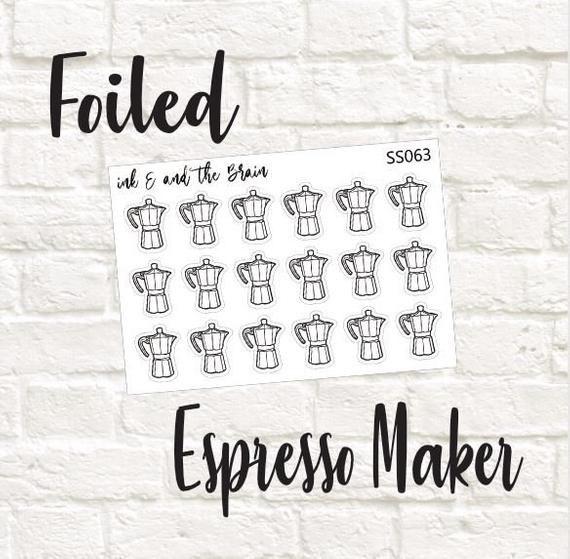 Espresso Maker Foiled Icon - SS063 #espressomaker