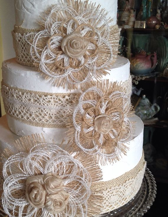 wedding cake with lace and flowers burlap amp lace cake ideas and inspirations burlap lace 26909