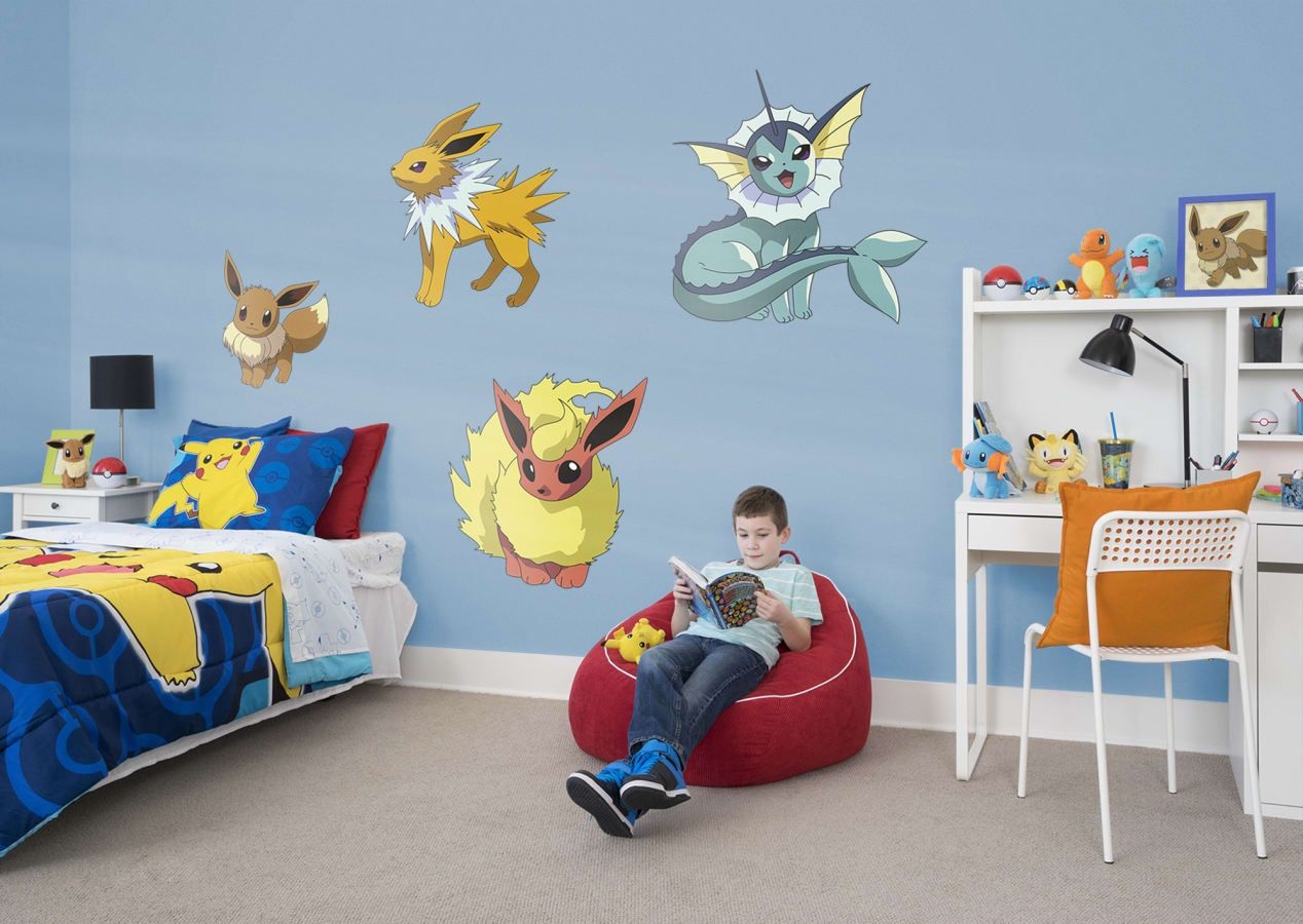 Boys Video Game Room Pokemon Eevee Wall Decals Follow Us On Pinterest For All Your Home Decorating Ideas Pokemon Room Game Room Kids Pokemon Wall Decals