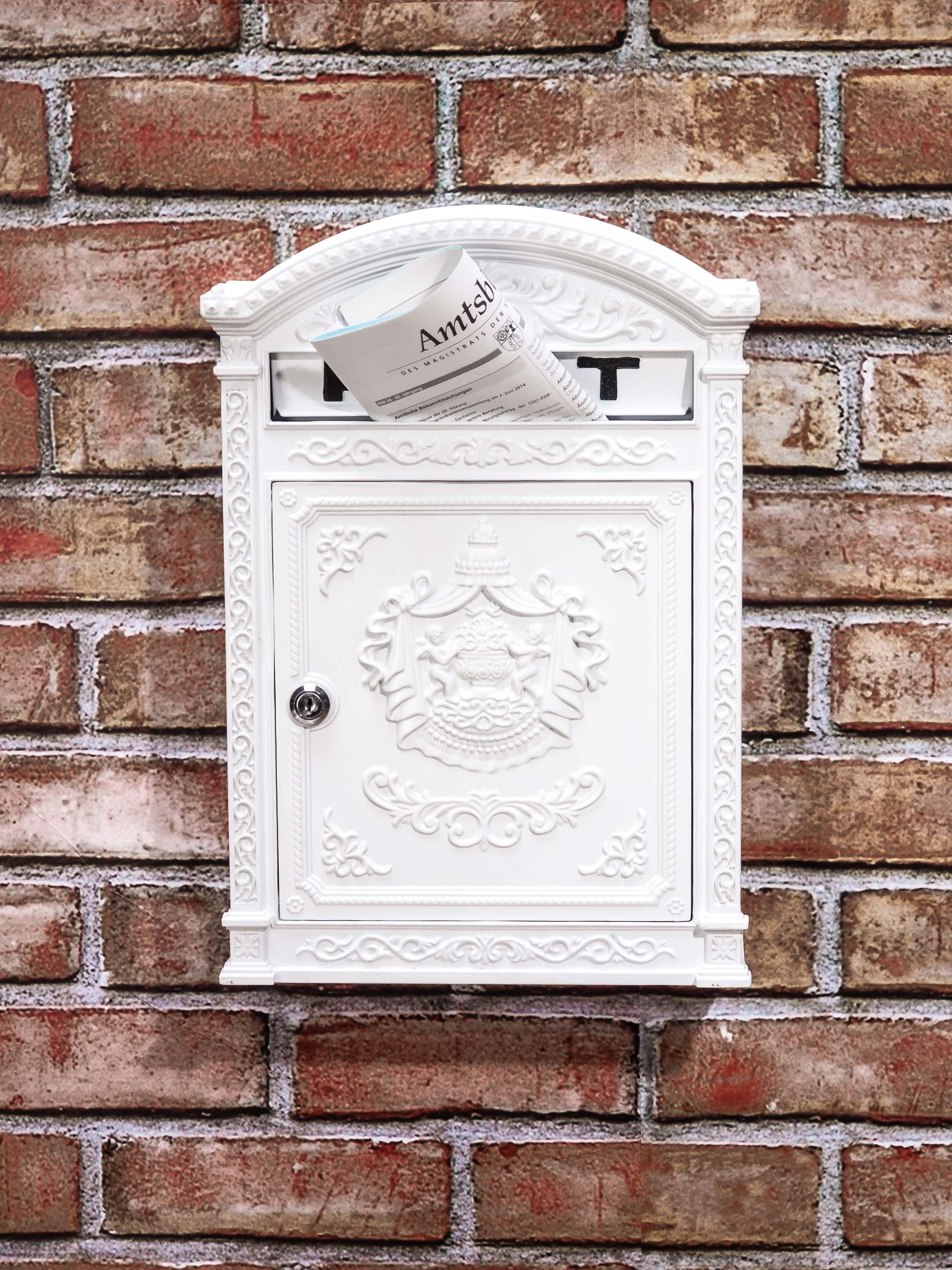 Aluminium Nostalgie Retro Briefkasten Weiß Wandbriefkasten