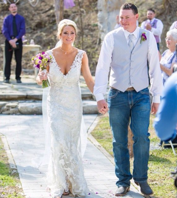 Wedding photography.  Allure Bridals.  Elegant lace wedding dress.  Country rustic wedding