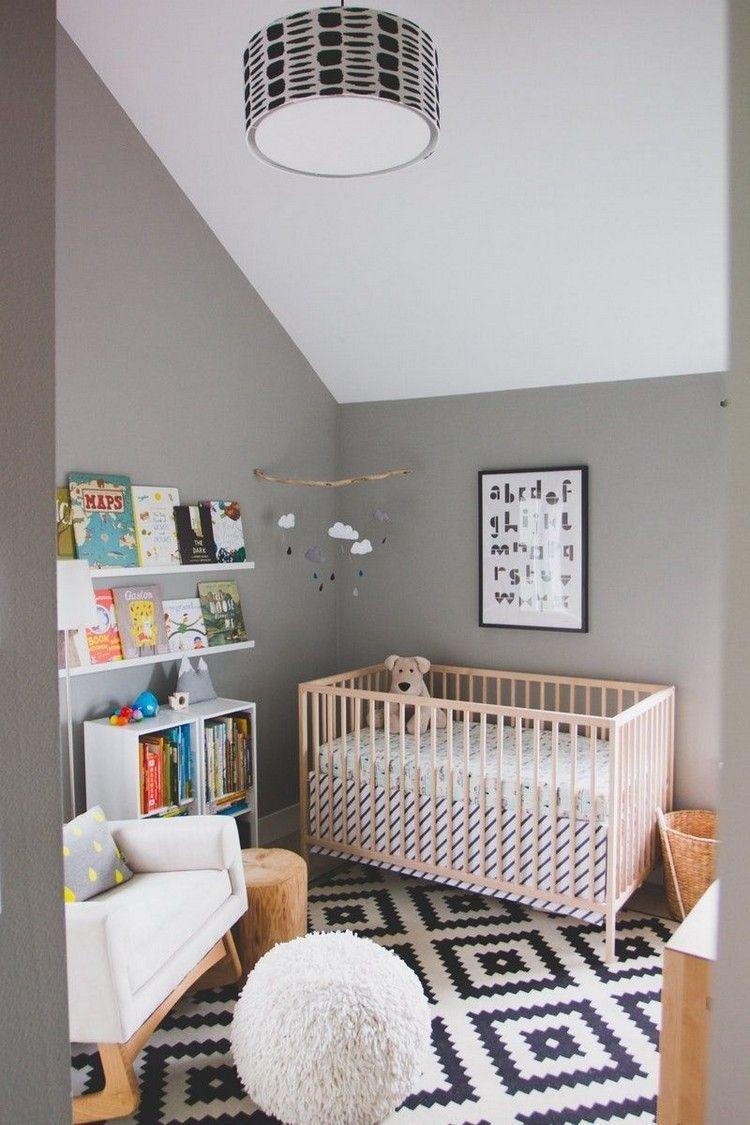 babyzimmer grau weiß dachschräge weiße decke graue wände in ...