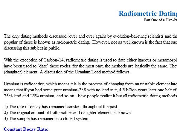 Jul 2018. Radiometric dating involves dating rocks or other objects by..