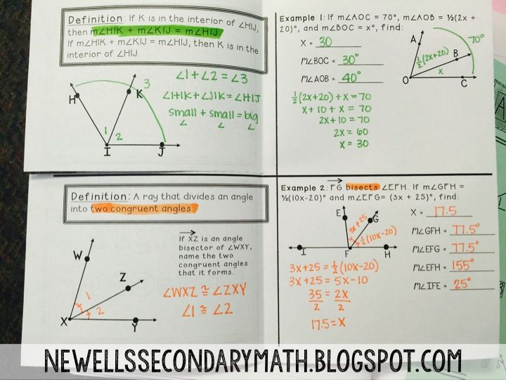 This Post Contains Interactive Notebook Ideas For Angle Addition And Angle Bisectors I Go Through The Fo Math Blog Geometry Interactive Notebook Math About Me