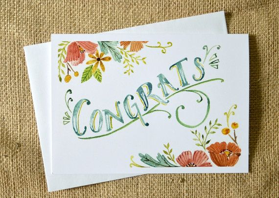 Watercolor Congratulations Card Celebration Card Wedding Card