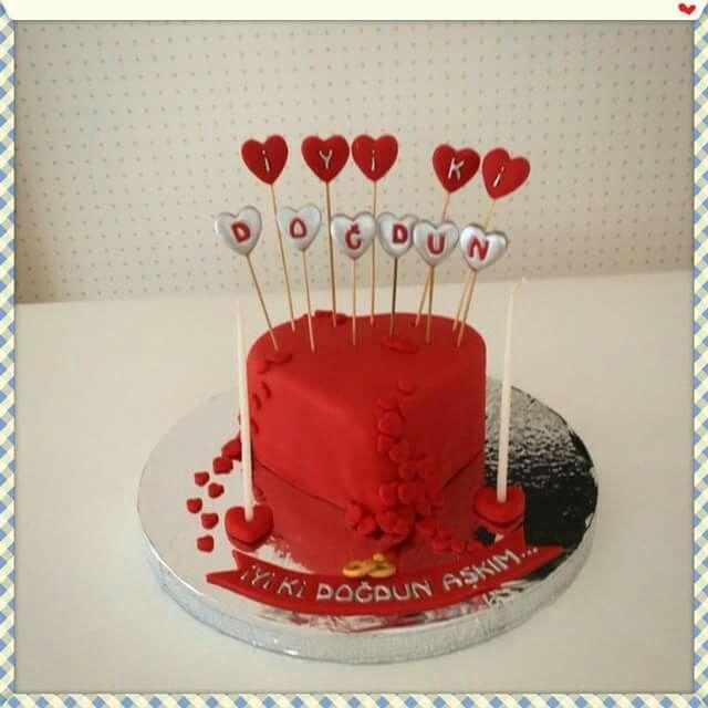 Heart Cake For Darling Happy Birthday Kurabiyegiller Cookies