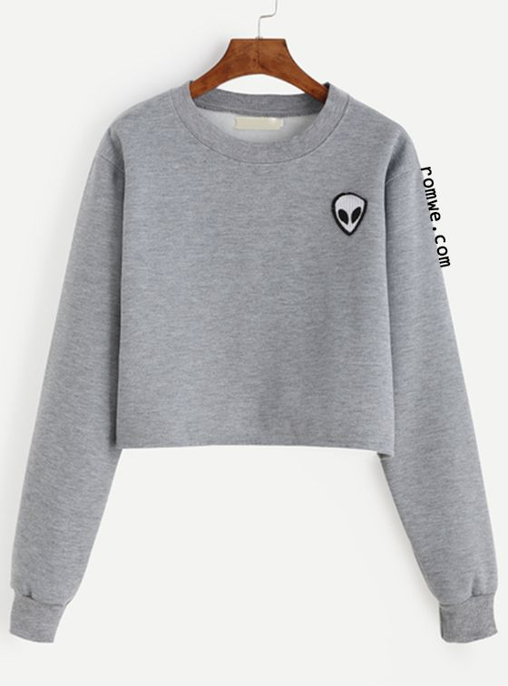 f765a48a58 Grey Alien Patch Crop Sweatshirt | Outfits | Grey long sleeve shirt ...