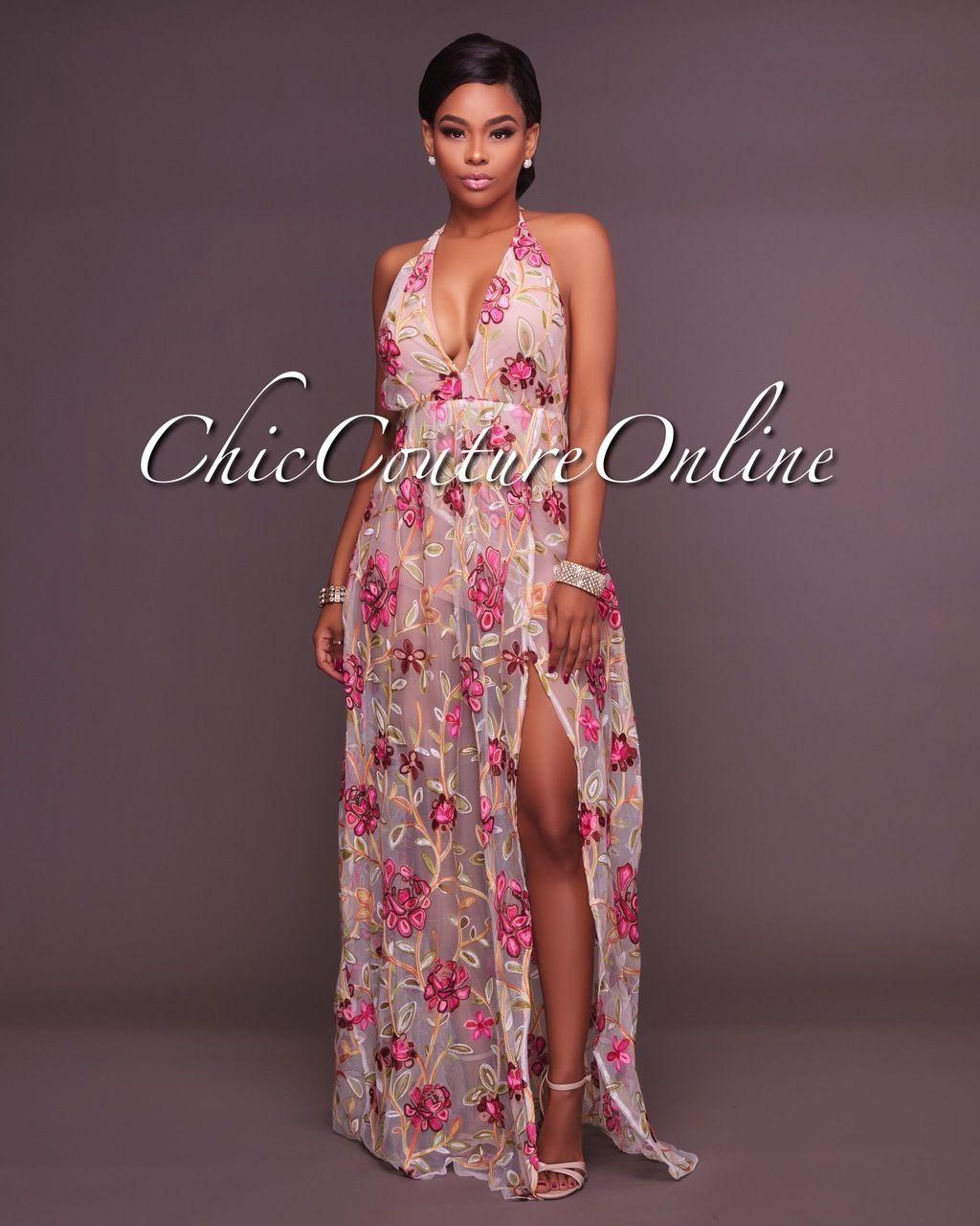 04cef987bd0 Fanika V Neck Nude Embroidered Romper Maxi Dress