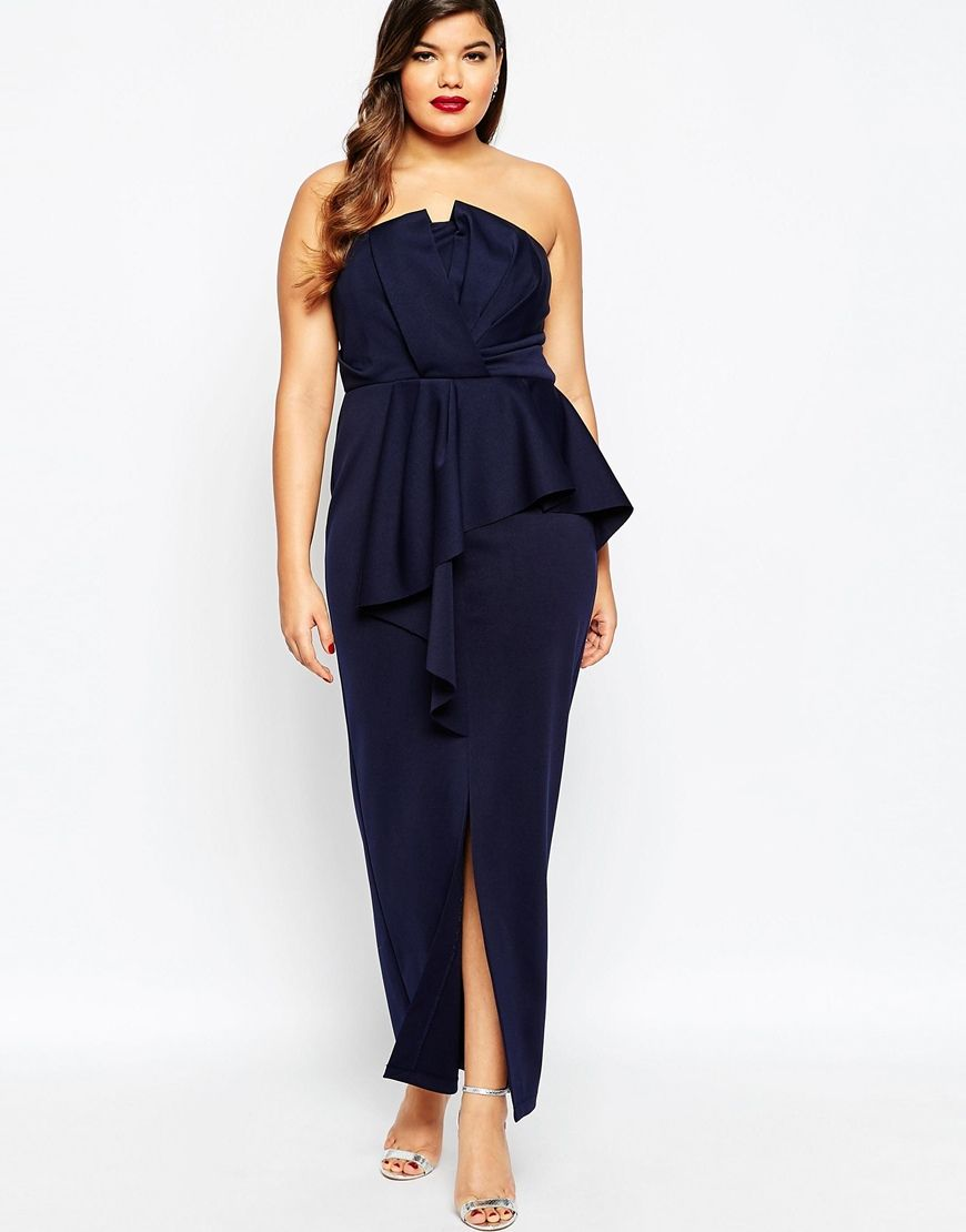 Image  Of Asos Curve Red Carpet Bandeau Maxi Dress With Heavy Fold Peplum