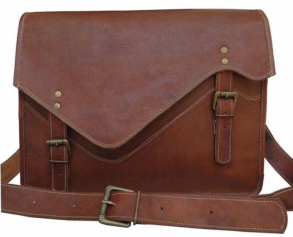 Men/'s Genuine Leather Vintage Laptop Messenger Handmade Bag Satchel Bag