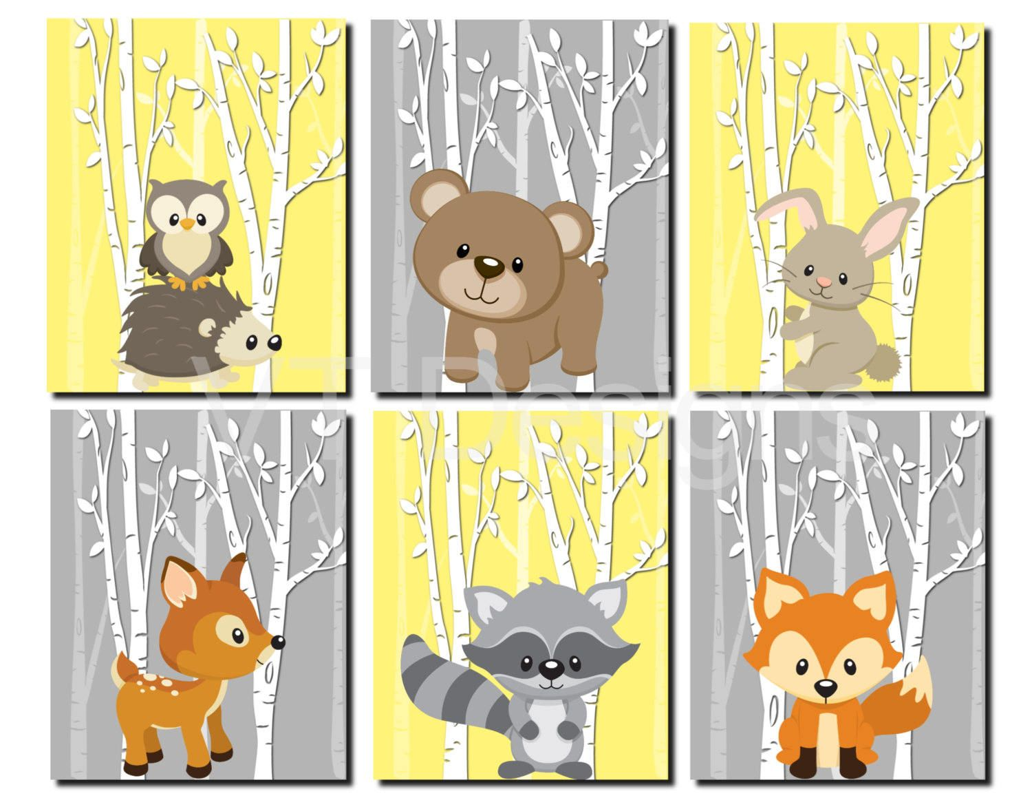 Woodland Nursery Art, Forest Animals Wall Art, Kids Wall Art, Yellow ...