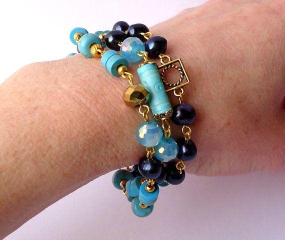 Blue bracelet.3 rows bracelet.Turquoise by Jewelry2Heart on Etsy