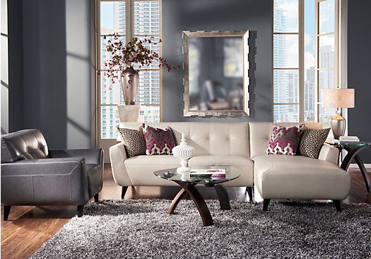 Shop For A Cindy Crawford Home Portofino Smoke 3 Pc Sectional Living Room At Rooms To Go With Images Living Room Sectional Living Room Sets Furniture Living Room Leather