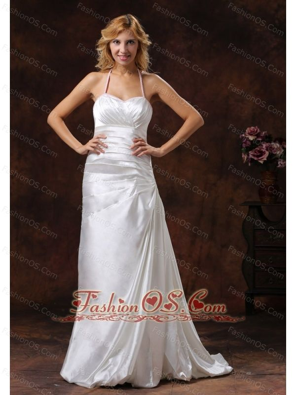 Halter Neckline Ivory Wedding Dress With Brus Train Satin Ruch Decorate  http://www.fashionos.com/  http://www.facebook.com/quinceaneradress.fashionos.us     It features two beaded spaghetti straps to encircle the bust that creats a fuller bust and modest sweetheart. The floor-length skirt has folds and pleating to pool at the feet attached a brush train that makes you a queen.