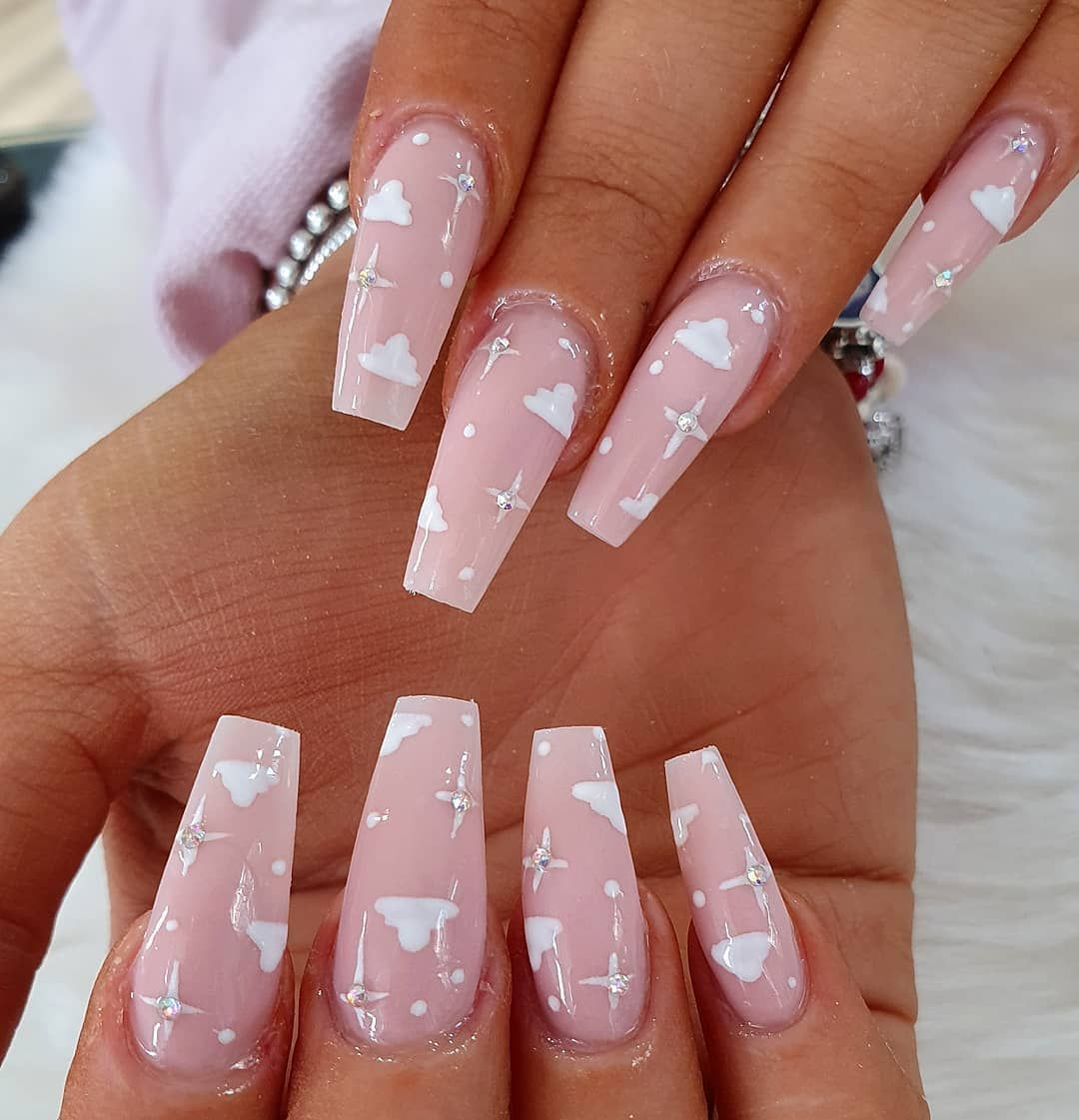 Handpainted Clouds And Stars For Alexajayne In This Dreamy Set Using Sworovsk Nails Swag Nails Pink Acrylic Nails Best Acrylic Nails