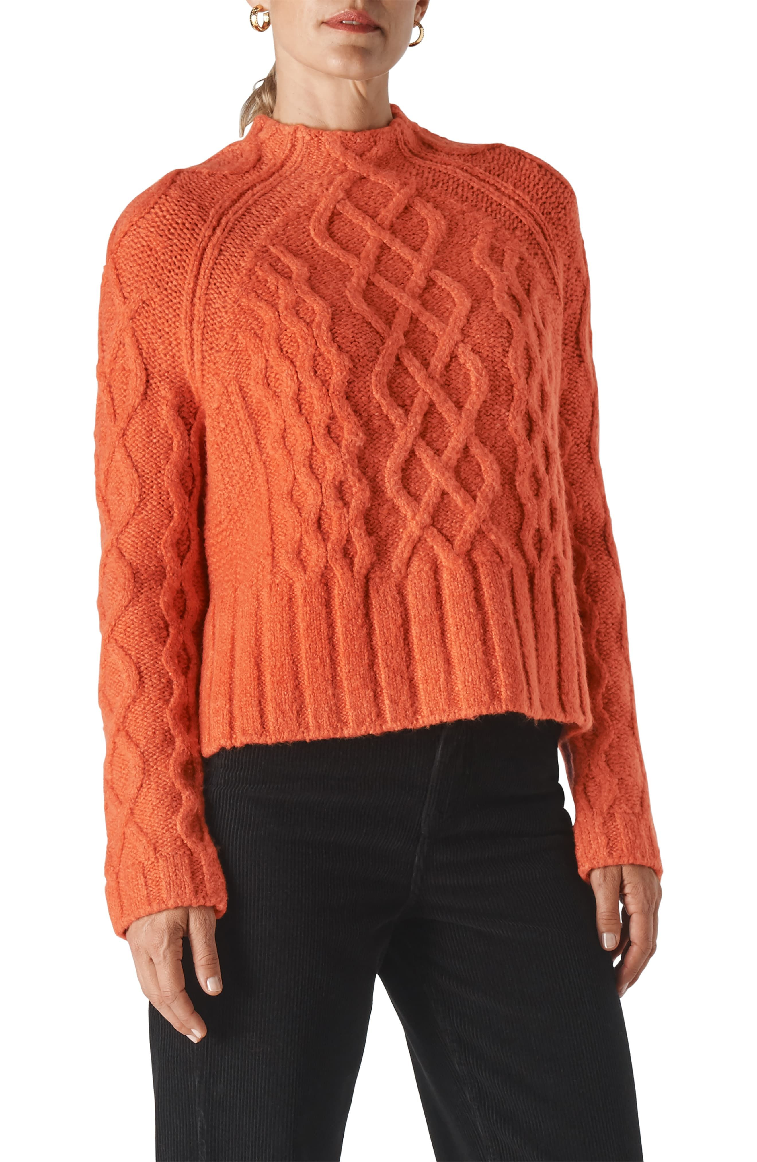 Woman/'s Cable Knitted Orange Jumper
