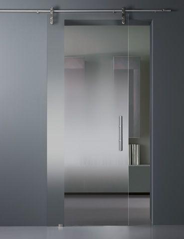 vitrealspecchi - Nuanced satin glass sliding door.