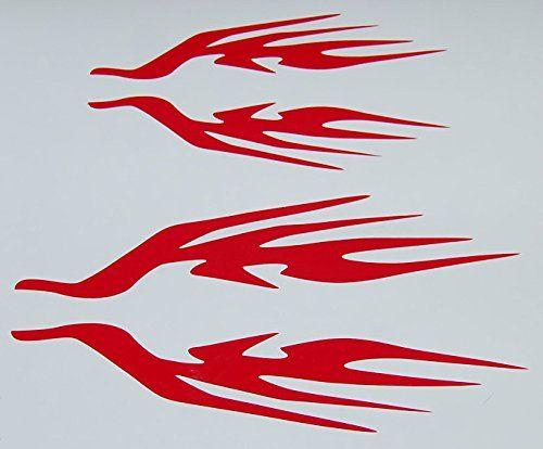 Custom Flame Vinyl Decal Bike Gas Tank Helmet Stickers Red NEW Set - Helmet custom vinyl stickers