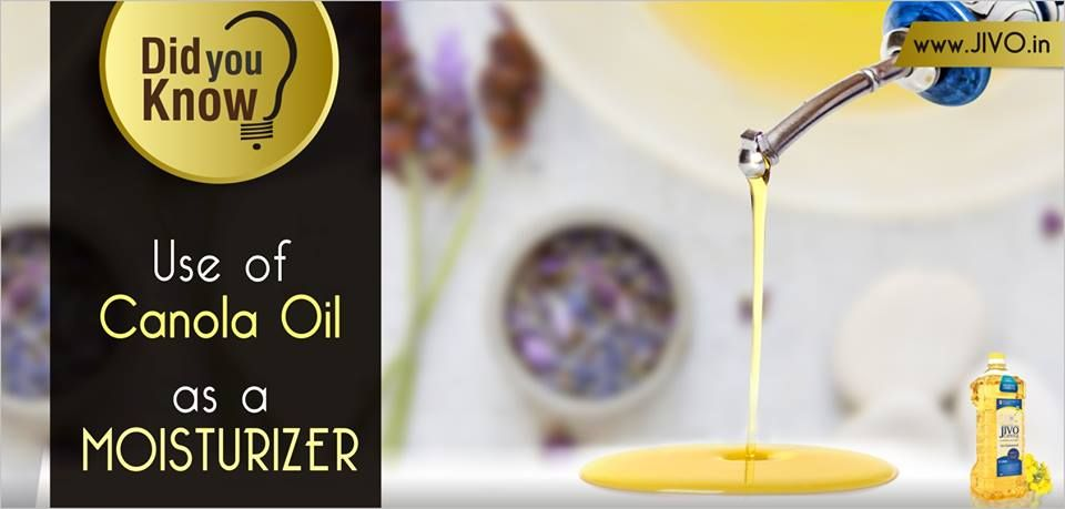 "#DidYouKnow #CanolaOil #JIVO  Use of Canola Oil as a Moisturiser!  As per experts , ""Canola oil contains a high level of essential fatty acids, which are beneficial in moisturizing skin""  Skin-care formulations usually contain other ingredients that help wash off excess oils and minimize problems like clogged pores and acne.  Basically, if your face feels so chapped and dry that it's about to fall off !"