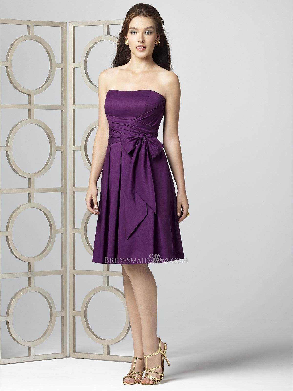 Short purple wedding dresses  eggplant strapless knee length cotton voile bridesmaid dress self