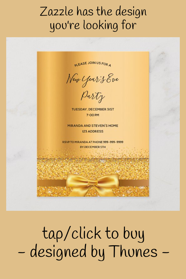 2020 new year's eve party invitation gold metallic