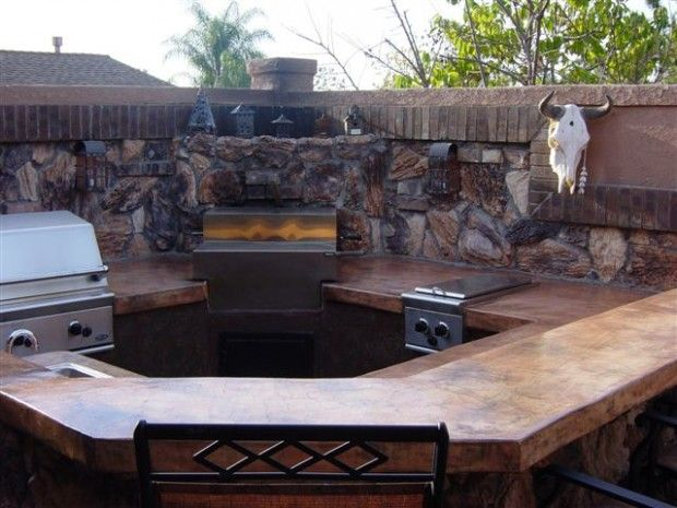 Concrete Outdoor Seating | Outdoor Kitchen Custom Barbeque ...
