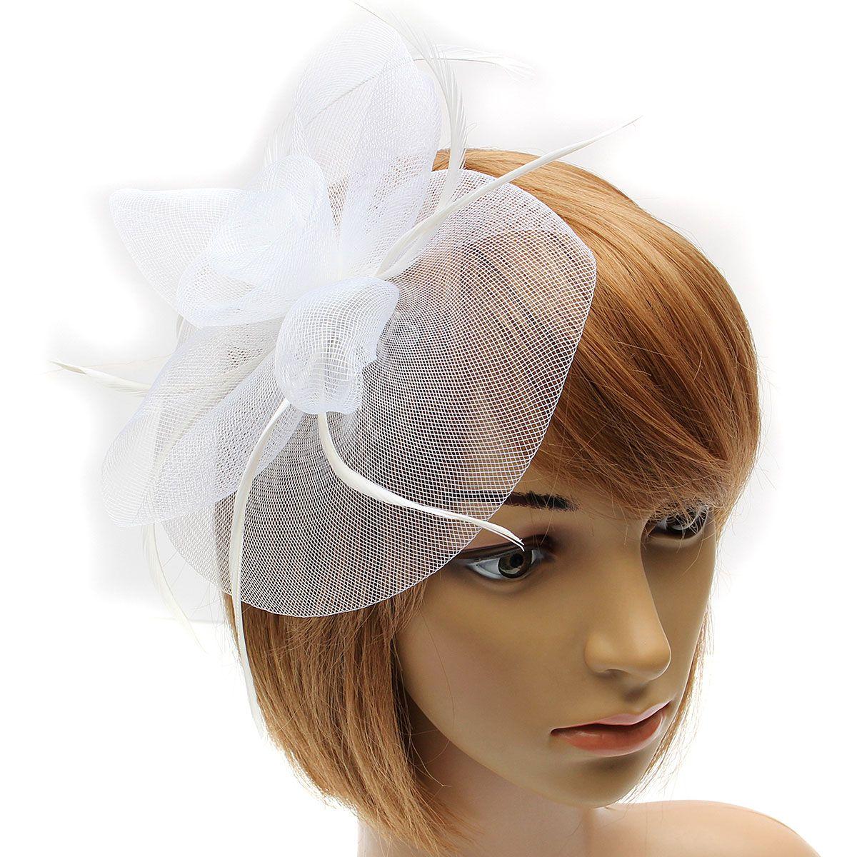 New Lady Girl Fascinator Hat Feather Veil Net Cocktail Party Church Wedding  - Walmart.com a7db1553944
