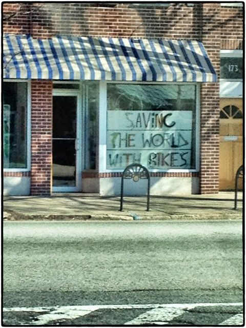 SAVING THE WORLD WITH BIKES  That's a pretty bold statement from such a small bike shop. via Content in a Cottage