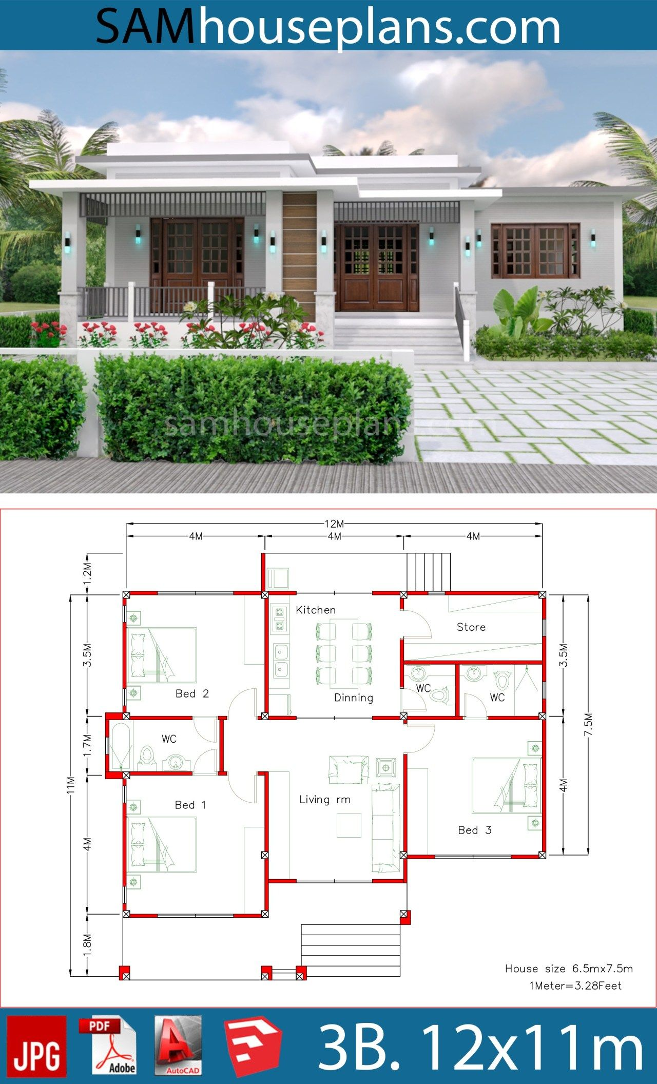House Plans 12x11m With 3 Bedrooms Sam House Plans Village House Design Architectural House Plans House Construction Plan