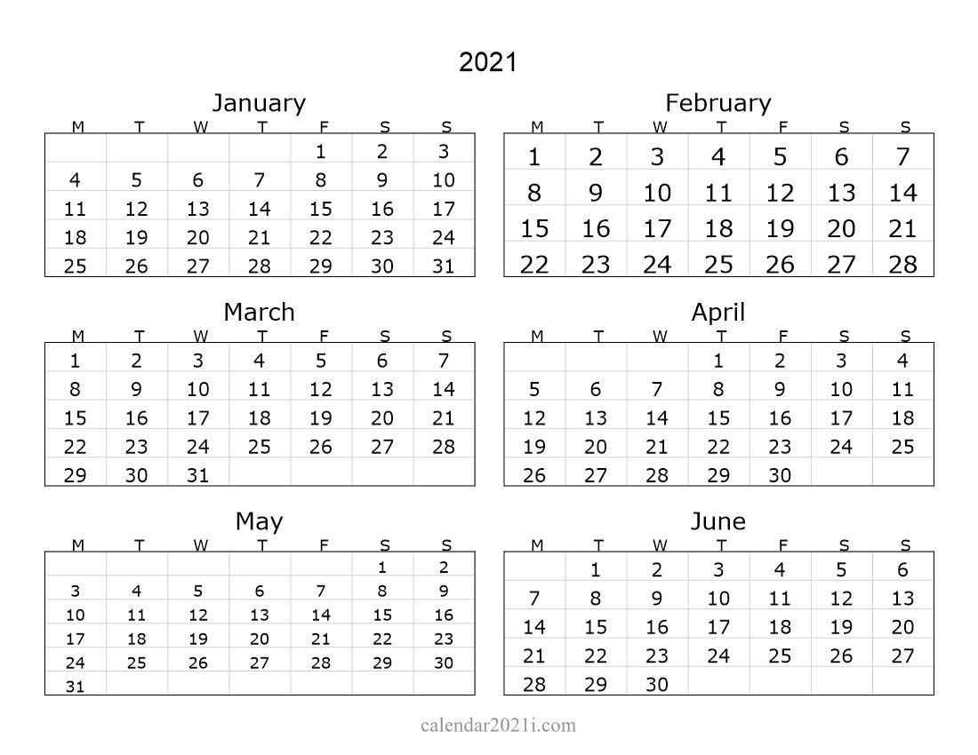 Printable 6 Month Calendar 2021 2021 6 Months Landscape Calendar in 2021 | Printable calendar