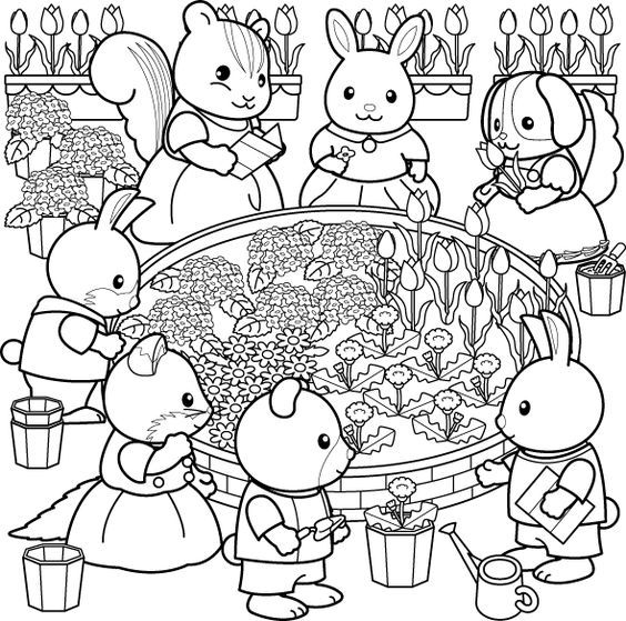 Sylvanian Families Colouring Pages And Families On Pinterest Family Coloring Pages Coloring Books Family Coloring