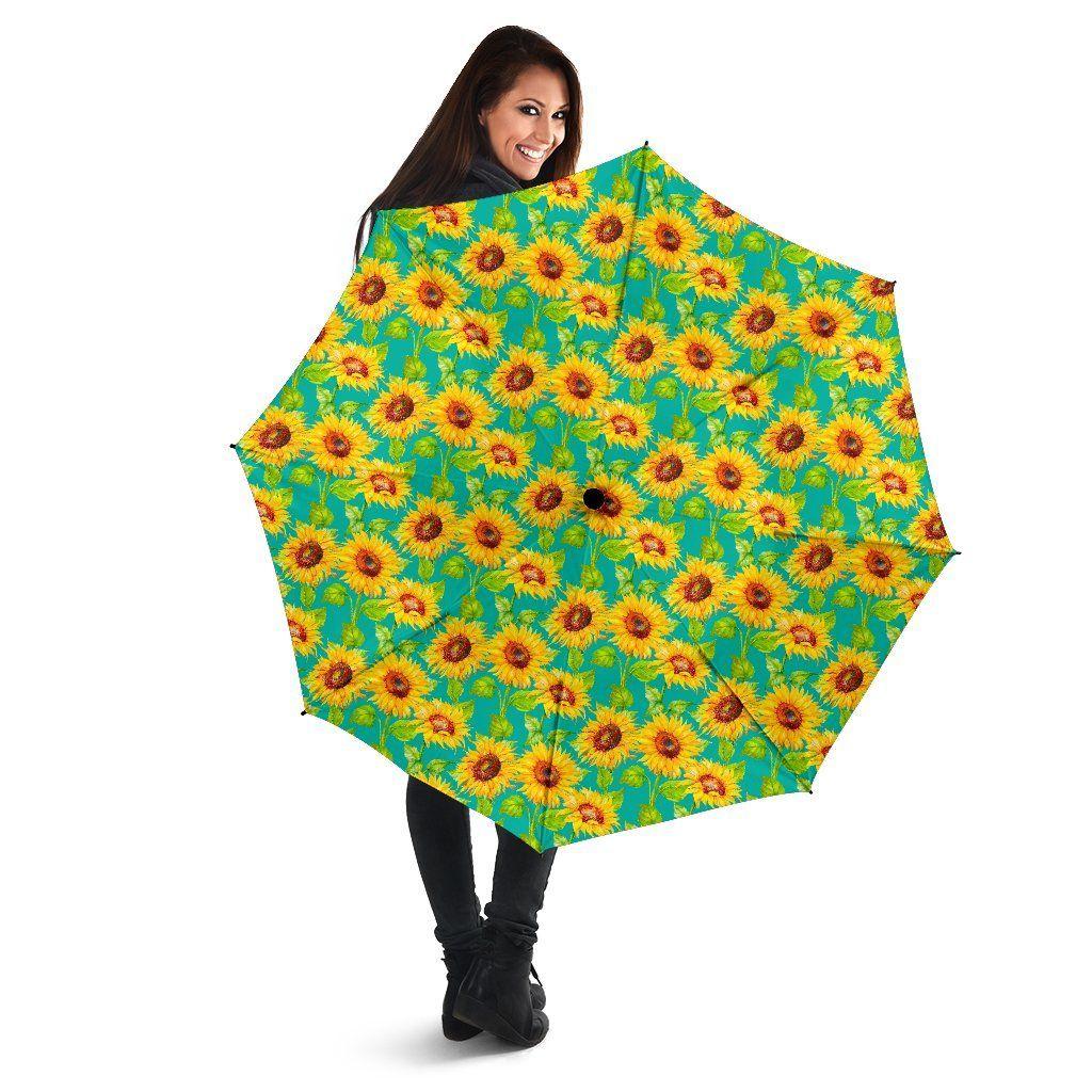 Teal Watercolor Sunflower Pattern Print Foldable Umbrella