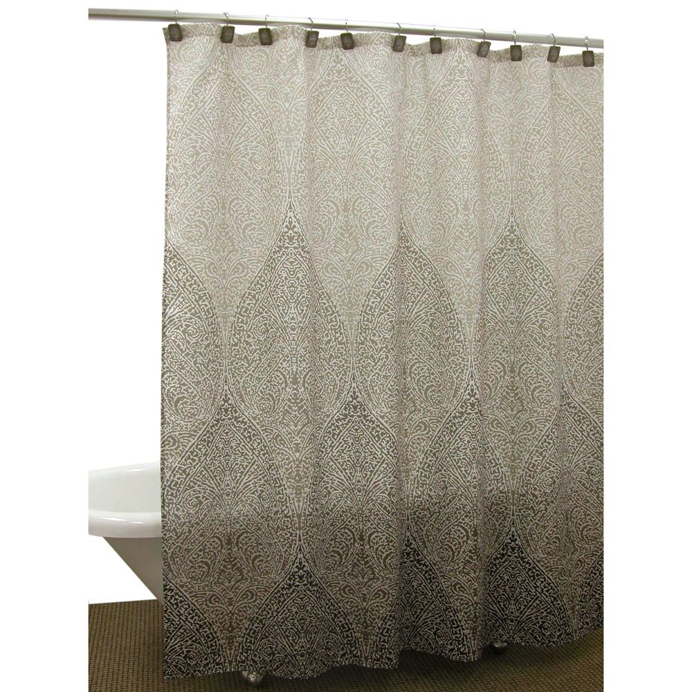 The Casablanca Earth shower curtain features an exotic damask ...