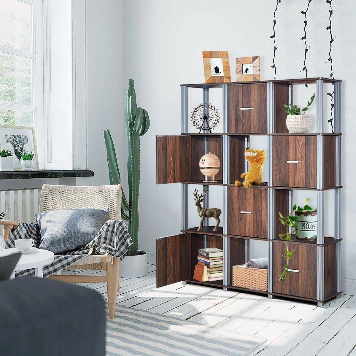 4 Tier Storage Shelf Display Bookcase With 6 Doors Display Bookcase Storage Shelves Shelves #storage #shelf #for #living #room