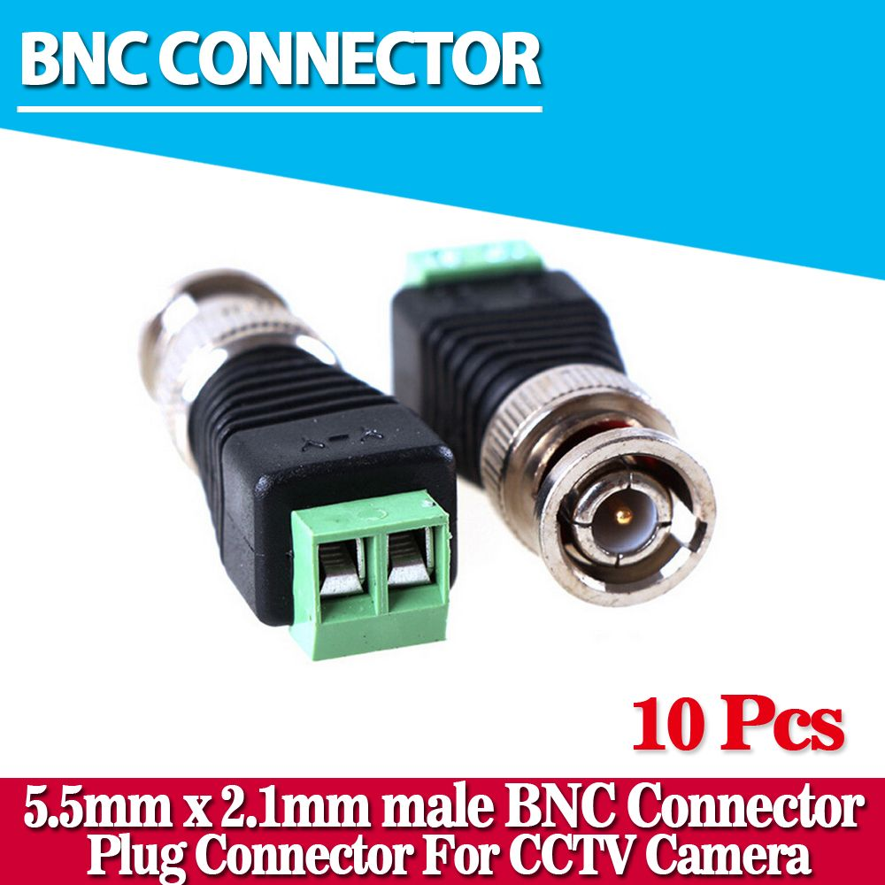 2017 Hot Sales Ninivision Cctv Accessories 10pcs Lot Coaxial Coax 12v Dc Power Pigtail Male 5 2 1mm Cable Plug Wire Bnc Connector