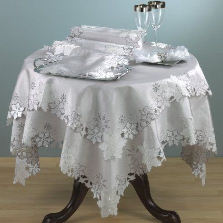 Amazon.com: Holiday Embroidery Cutwork Silver Snowflake Tablecloth. 40 Inch Square. One Piece.: Home & Kitchen