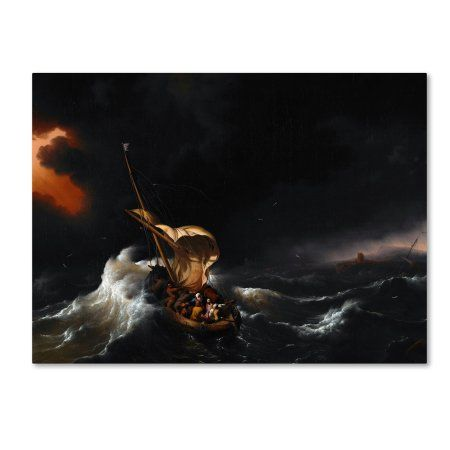 Trademark Fine Art Christ In The Storm On The Sea Of Galilee Canvas Art By Backhuysen Walmart Com In 2021 Bible Art Biblical Art Jesus Calms The Storm