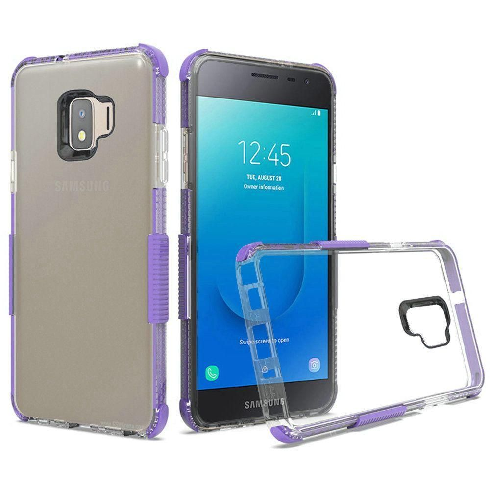 Samsung Galaxy J2 2019 Premium Protective Clear Case with Colored Shockproof Bumpers, Purple/Clear