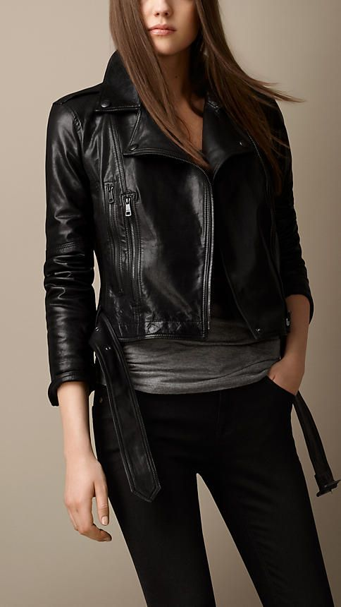 02b555834902 Burberry Brit Trench Belt Leather Biker Jacket. Just killer. And without  any brassy or silvertone hardware.