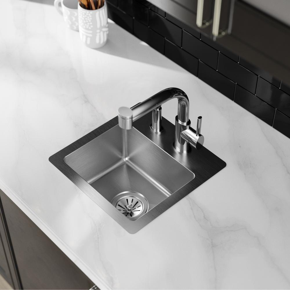 Elkay Crosstown Drop In Stainless Steel 15 In 1 Hole Single Bowl Kitchen Sink Hdsb151572f The Home Depot Single Bowl Kitchen Sink Bar Sink Sink