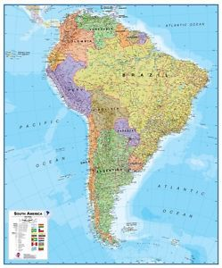 Poster South America Map Political