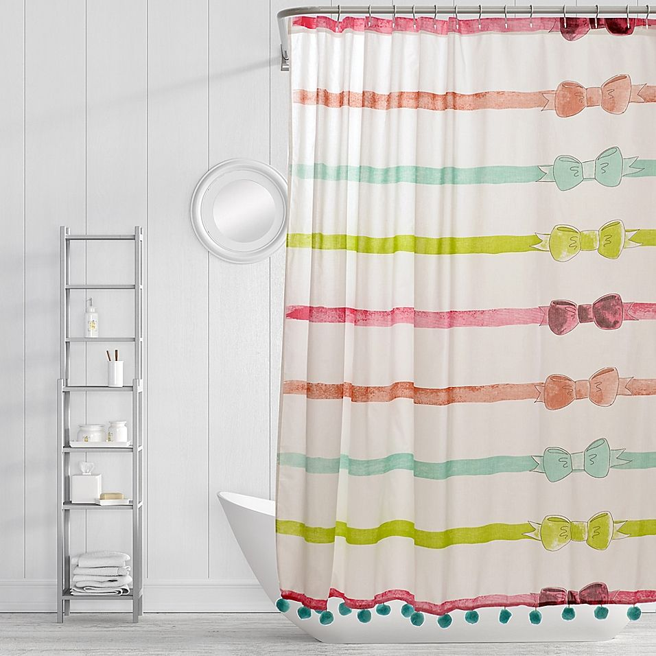 Simply Whimsical Ribbons And Bows Shower Curtain In Red Pink
