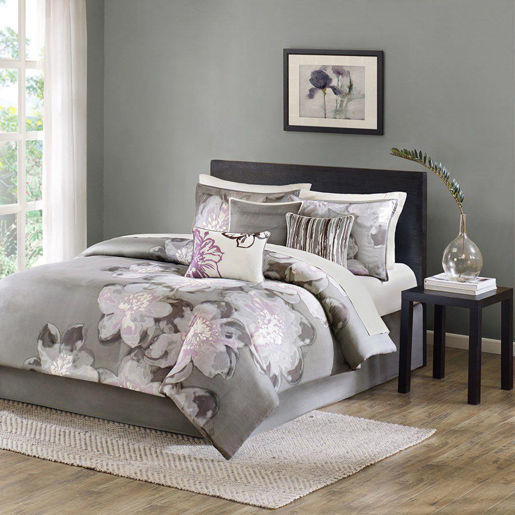 Serena King Comforter Set 7pcs Gray Purple Comforter Sets Duvet Cover Sets King Comforter Sets