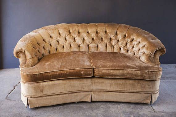Incredible Vintage Gold Velvet Tufted Loveseat Couch Sofa Home Decor Cjindustries Chair Design For Home Cjindustriesco