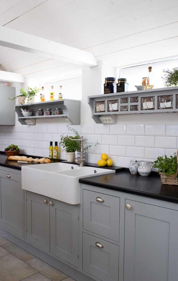 Black Worktop And Grey Units