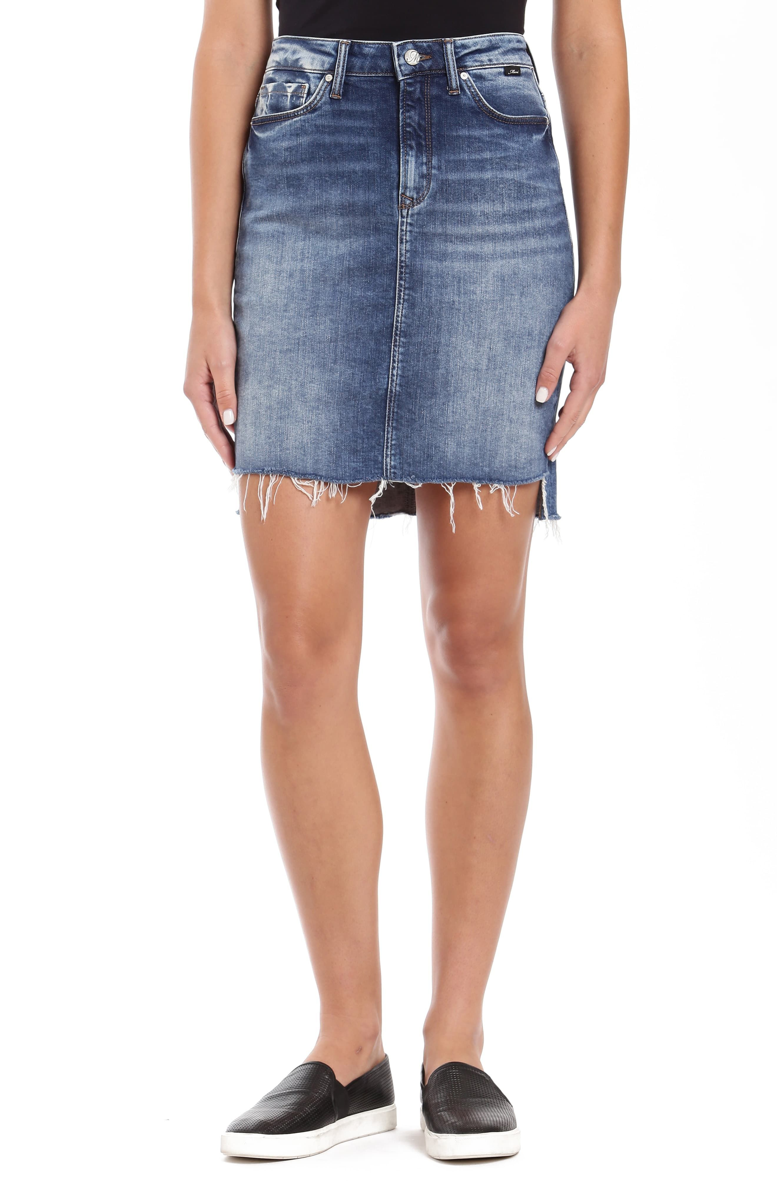 efeecf2fe7 Women's Mavi Jeans Mila Raw Edge Step Hem Denim Skirt, Size Medium - Blue
