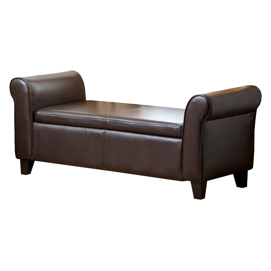 Abbyson Living Henry Leather Storage Ottoman Bench   Brown